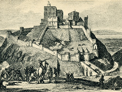 Click to view Corfe Castle in 1643