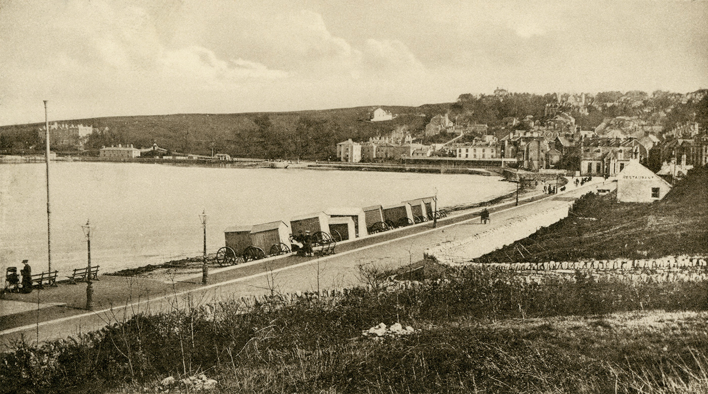 Wheeled Bathing Huts on the seafront Late 1800s