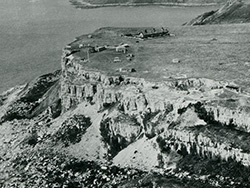 Click to view St Aldhelms Head with quarry buildings from the ai
