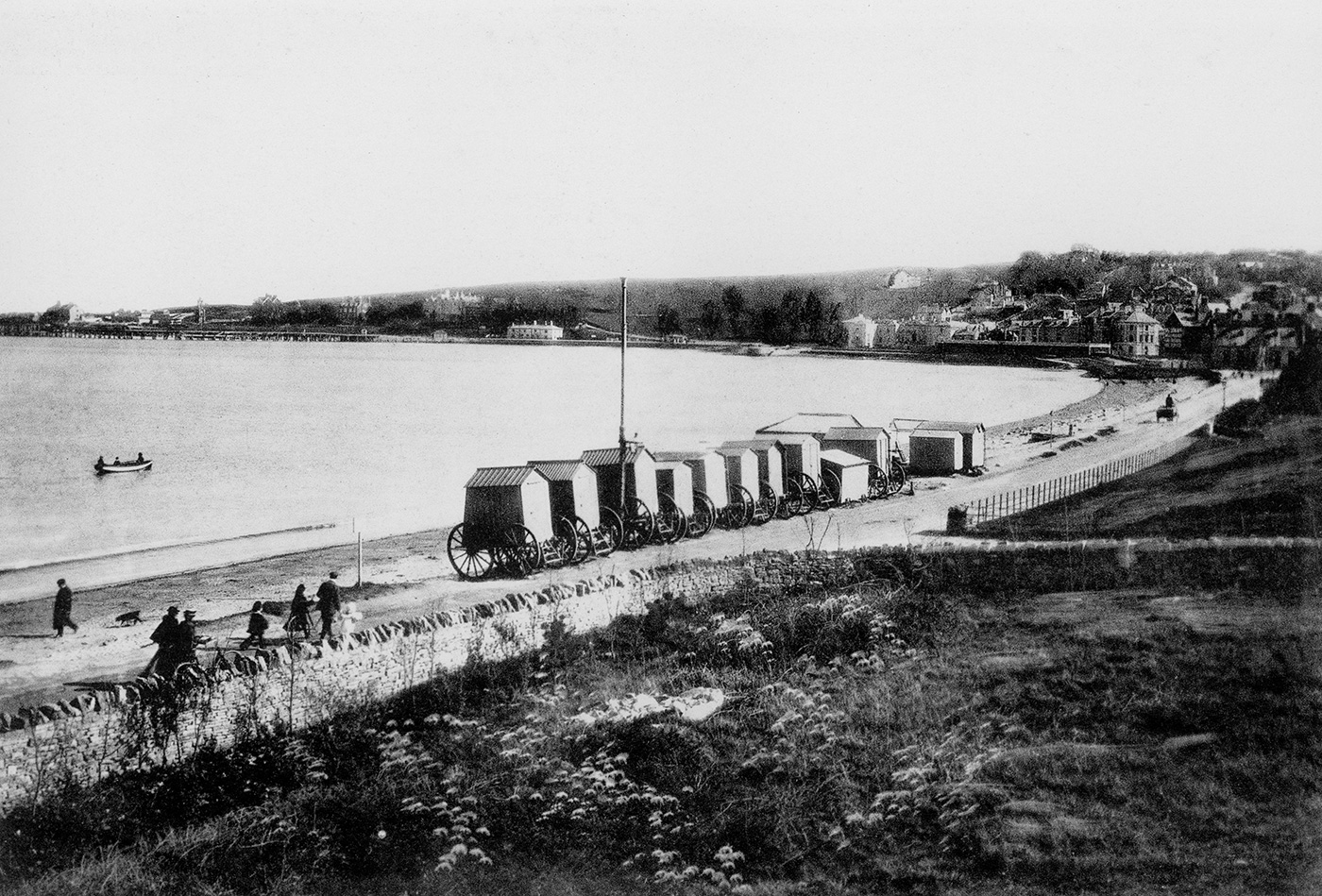 Looking South along Shore Road with Bathing Huts