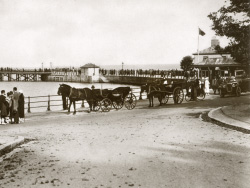 Click to view Charabanc and Horses at the Pier