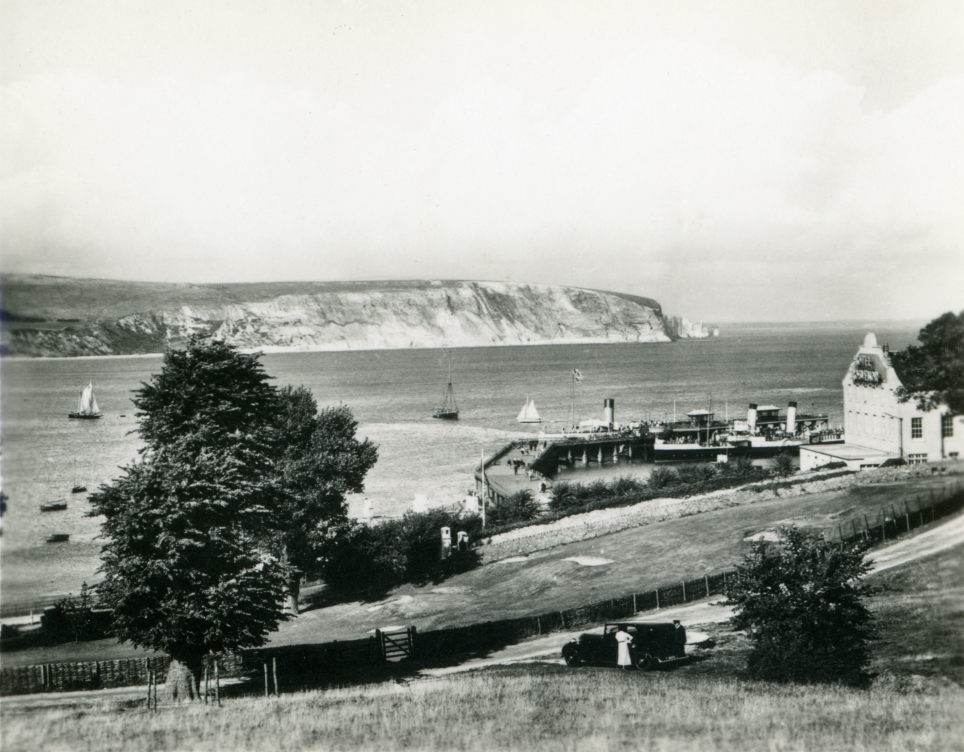 The Downs and Pier with Paddle Steamers