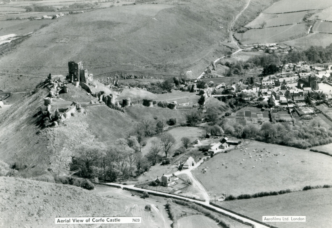 Corfe Castle from above