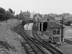 Swanage Railway from the bridge in 1965 - Ref: VS1963