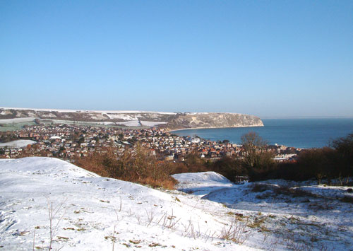 Snowy Swanage from the Townsend Nature Reserve