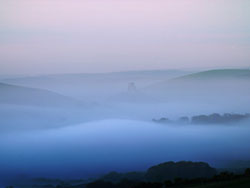Click to view Corfe Castle in Mist