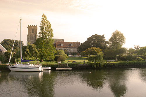 Boats and the Church across Wareham river