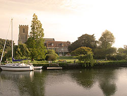 Boats and the Church across Wareham river - Ref: VS602