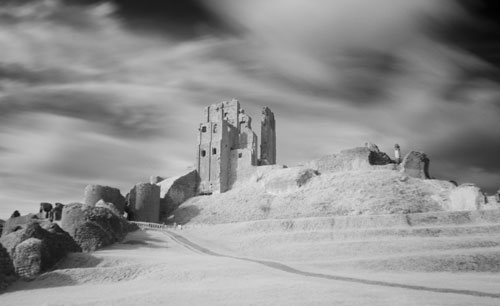 Infrared Corfe Castle and ramparts