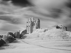 Click to view Infrared Corfe Castle and ramparts