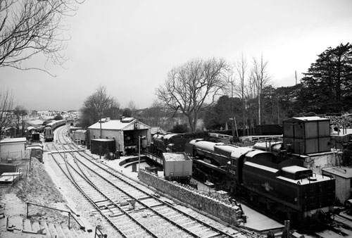 Snow on the Railway from the Bridge