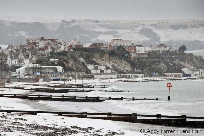 Swanage Beach in the Snow