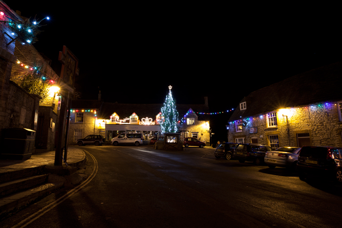 Corfe Castle  Square Christmas Lights