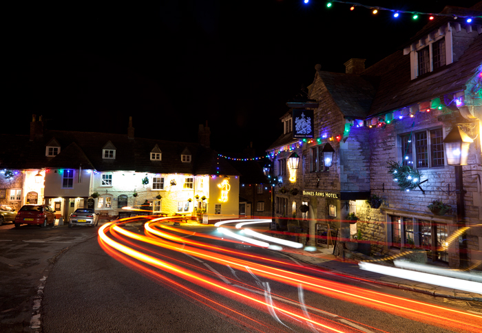 Corfe Castle Christmas Lights and trails