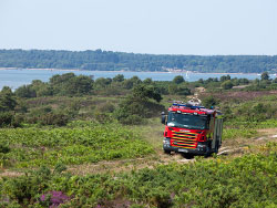 Click to view Fire engine driving across the heath