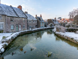 Click to view Snow at the Millpond with ducks