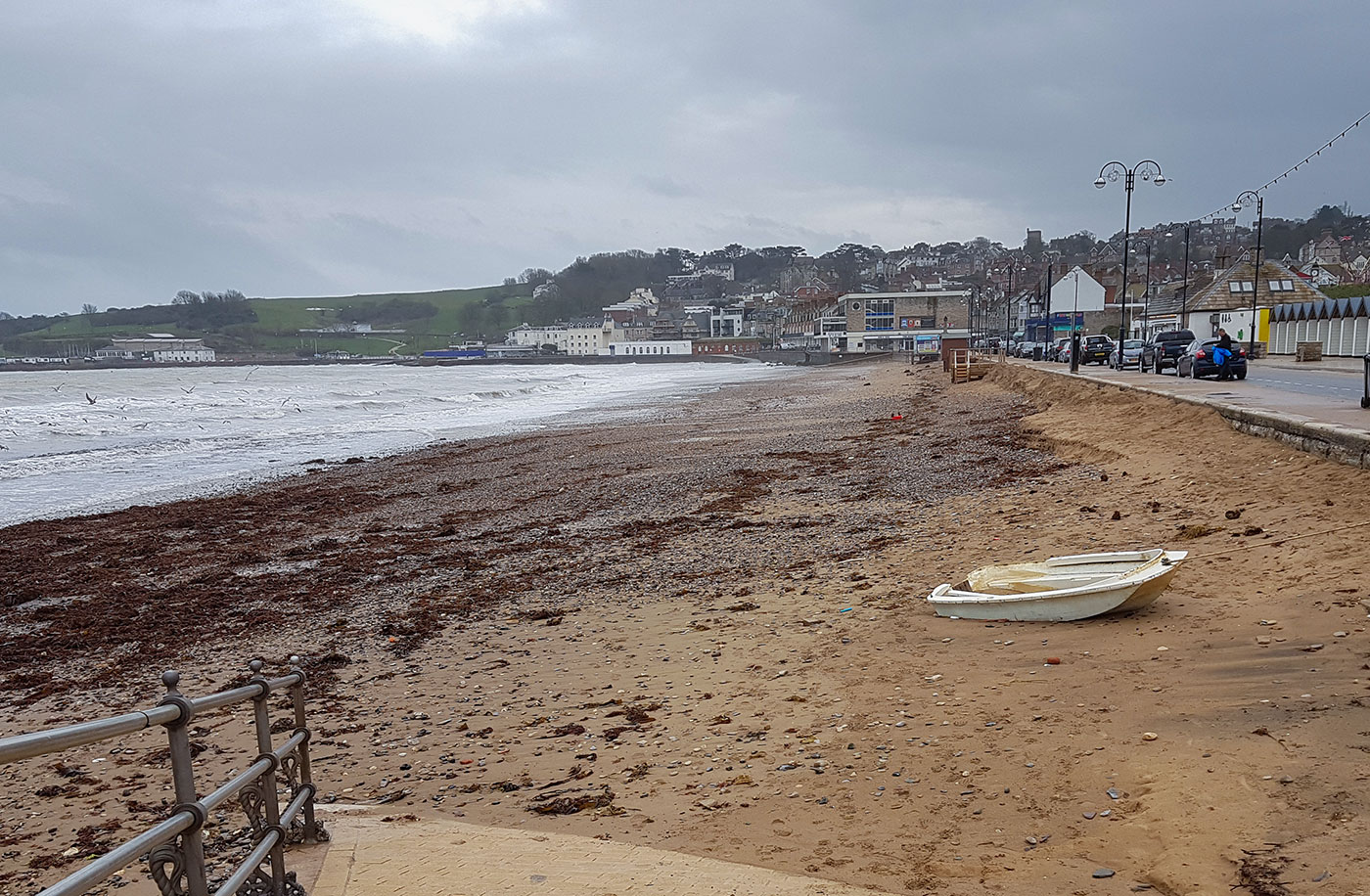 Swanage beach after Storm Emma