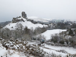 Click to view Corfe Castle and Village in the snow
