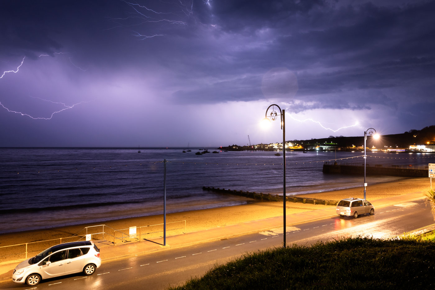 Lightning over the bay from Sandpit Field