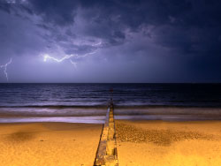 Click to view Lightning over the bay from the Beach