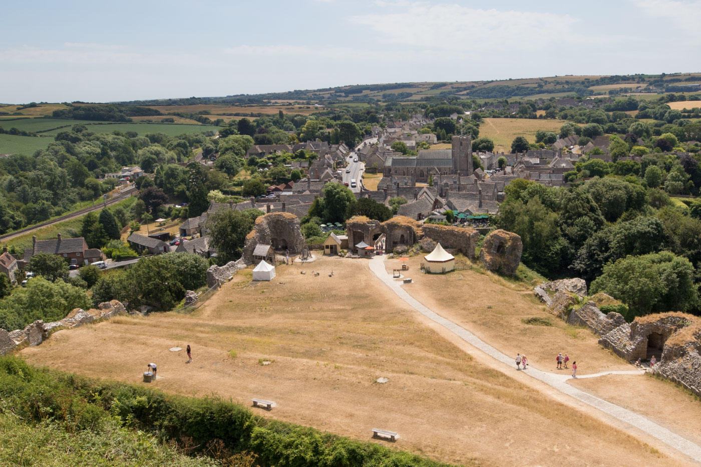 Corfe village from the Castle