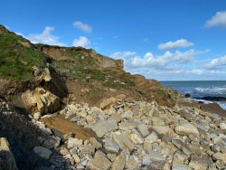 Click to view Peveril Point Landslides and steps gone