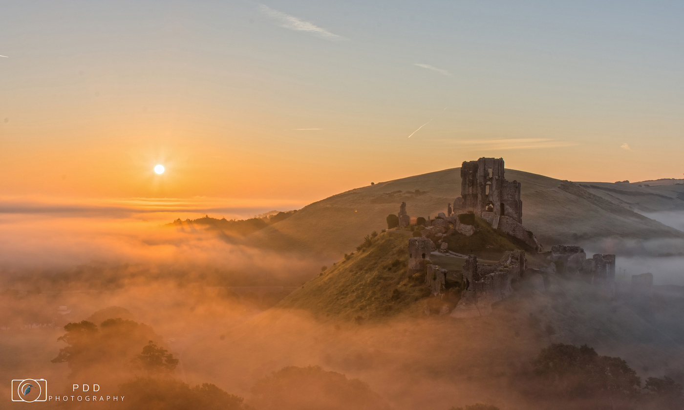Corfe Castle misty sunrise